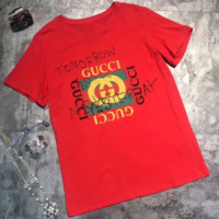 GUCCI 2018 new fashion letter logo printing casual short-sleeved T-shirt Red