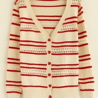 V-Neck  Red striped hollow long sleeve casual shrug sweater  Striped Pop  style zz92701101 in  Indressme