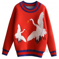 Indie Designs Gucci Inspired Embroidered Crane Sweatshirt