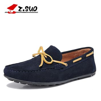Z. Suo Men Loafers Genuine Leather Men Casual Shoes Brand Zapatos Hombre Suede Men Casual Shoes Moccasins Men Driving Shoes