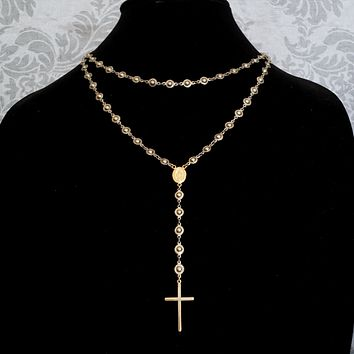 Silver and 14K GOLD Fill Rosary Necklace, Extra Long Silver Chain Gold Cross Rosary, Wrap Around Long Chain, Long Gold Cross Necklace
