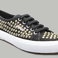 Superga-USA.com - 2750 CANVAS STUDDED BLACK GOLD