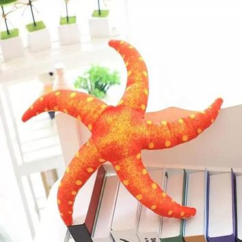 Plush Doll Stuffed Emulational Sea Animal Toy Starfish with Sucker Livingroom Glass Decorating Girl and Boy Funny Gift 18*18""