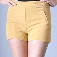 Point of View High Waist Dip Hem Shorts in Mustard | Sincerely Sweet Boutique