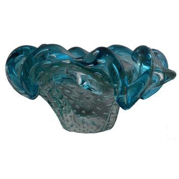 Pre-owned Murano Glass Free Form Bullicante Candy Dish