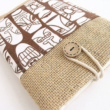 Burlap ipad mini case ipad mini sleeve pocket ipad case-Tiki.