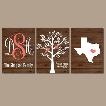Family Tree State Monogram Wood Effect Canvas or Prints Initials Wedding Shower Gift Last Name Date Tree Birds Custom Personalized Set of 3