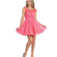 Coral Illusion Sweetheart Tulle Open Back Short Dress 2015 Homecoming Dresses