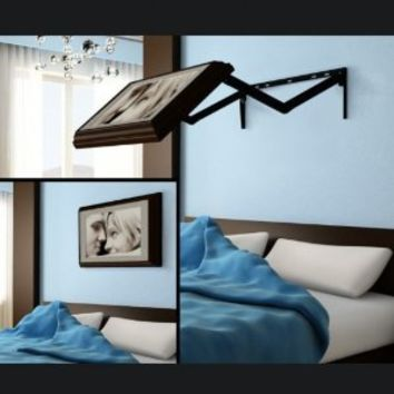 """Stuck in Bed - Extended Flip-Out TV mount for the Flat Screen 30"""" to 32"""" TV with a White Wood Picture Frame"""