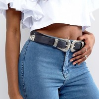 ASOS Leather Double Buckle Western Waist And Hip Belt at asos.com
