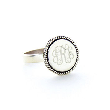 Sterling Silver braided round ring, available in monogram or in all sorority letters!