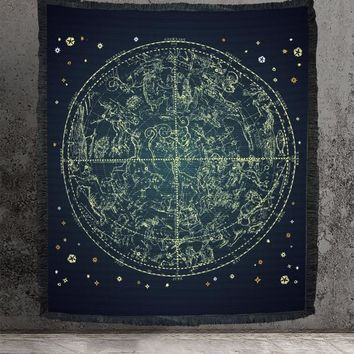 Woven Zodiac Tapestry or Blanket Navy Wall Hanging or Blanket For Meditation Cotton