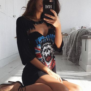 Sexy Print Skeleton Dress
