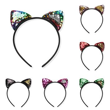 Fashion Kids Mermaid Headband Hair Accessories Bezel Gifts 8 Colors Cat Ear 1PC Hot Sale Flip Sequins Hairband