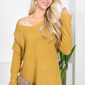Loose Knit Oversize Top | Goldenrod