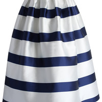 Stripes Full A-line Midi Skirt in Navy Multi