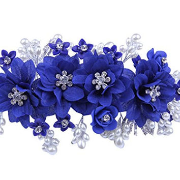 Bridal Headwear Vintage Flowers Headpiece Hair Accessories for Women Girls (Royal Blue)