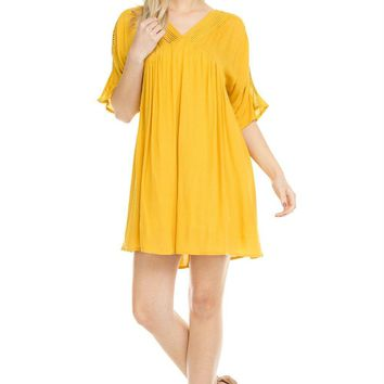 Women's V-Neck Loose Fit T-Shirt Dress