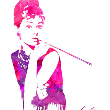 Audrey Stencil Stretched Canvas by Jon Hernandez