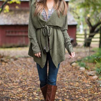 Army Green Asymmetrical Knit Cardigan