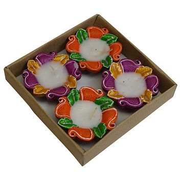 Set of 4 Pieces Decorative Diwali Clay Diya Traditional Earthen Oil Lamp Indian Festival Puja Gift