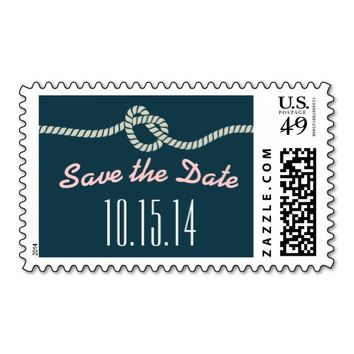 Navy Blue Rope Knot Save The Date Wedding