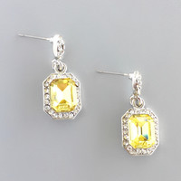 Elegant Yellow Crystal Earrings
