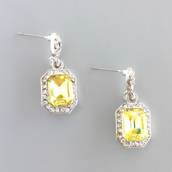 Alba Yellow Crystal Earrings