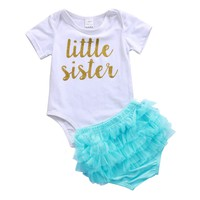 Newborn Toddler Baby Girls Clothing Set Tops Romper Layered Tulle Shorts Cotton Outfits Set Clothes Baby Girl