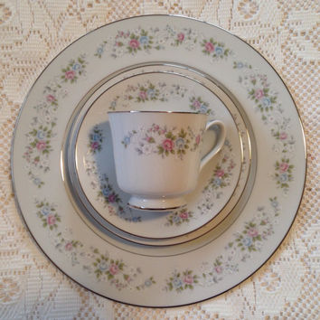 42 Piece Vintage China Set, Carlton Corsage, Service For 8, Fine China, White China, Pink Flowers, Blue Flowers, Wedding China, Wedding Gift