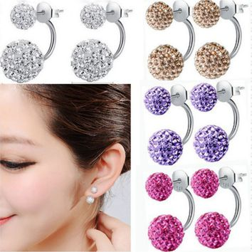 New Hot 925 Sterling Silver Double Beads Crystal Stud Earring Women Jewelry