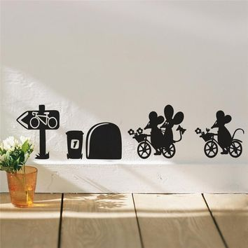 Mouse Ride to Play Flower Hole Wall Stickers Room Decorations 379. Diy Vinyl Home Decal Cartoon Animal Mural Art 5.3