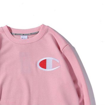 Champion Chest Logo Big Embroidery With The Same Round Collar Hooded Sweater Pink