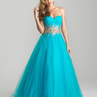 Turquoise Tulle Strapless Beaded Prom Gown - Unique Vintage - Cocktail, Pinup, Holiday & Prom Dresses.