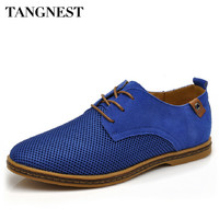 Tangnest Suede Leather Men Shoes 2017 New Breathable Lace Up Flats Solid Plain Oxfords Man Mesh Casual Shoes Big Size 47 XMR2113