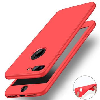 Luxury Soft TPU Silicone 360 Full Cover Case with tempered glass