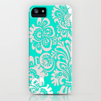 Tiffany Blue Damask iPhone Case by hhprint | Society6