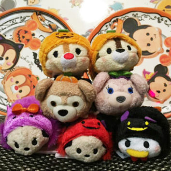 Tsum Tsum Mini 9cm Plush Toys Screen Cleaner Minnie Mickey Duffy cartoon soft stuffed dolls keychain pendant accessory kids gift