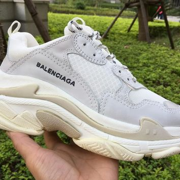 [Free Shipping ]Balenciaga Triple S Sneaker White Leather Speed Casual Sneaker