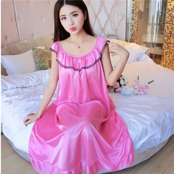 2017 summer silk nightdress sexy temptation female condole cute nightgown woman household to take fat MM Sleepshirts