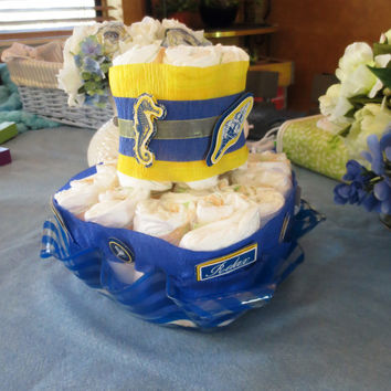 Nautical Diaper Cake Centerpiece Blue and Yellow Baby Boy Shower Gift Diaper Cake Sea Ocean Themed Baby Shower Decoration Square Diaper Cake