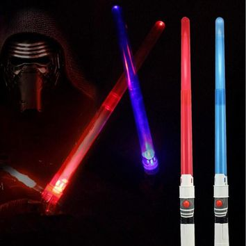 2017 New Star Wars Stretch LED Flashing Sounding Light Sword Toys Cosplay Props Kids Birthday Toys Gift