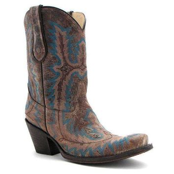 ICIKAB3 Corral Brown Turquoise Stitched Boots G1121