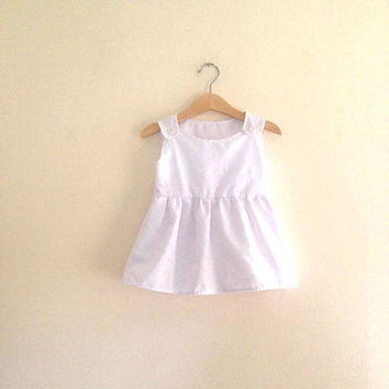 White Broderie Anglaise Dress | Baby Girl Embroidered Dress | White Dress | White Pinafore Dress | Baby Girls White Sundress