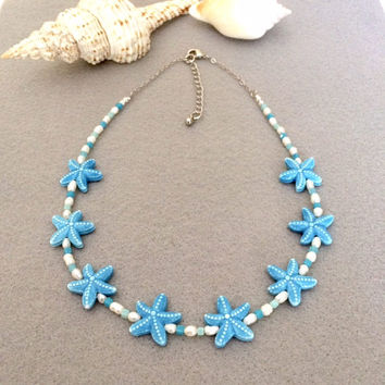 Ceramic Bead Starfish Necklace Starfish Bead Necklace Boho Necklace Short Necklace Beach Jewelry Unique Necklace Unique Jewelry Gift For Her