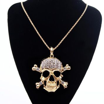 Rhinestone Skull Sweater Chain Long Necklace