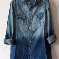 Women Euro Style BF Style Thin Cotton Lovely Button Well Matched Jean Blue Shirt M/L@II1021bl $15.55 only in eFexcity.com.