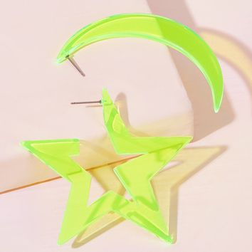 Star & Moon Mismatched Earrings 1Pair