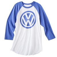 Volkswagon Men's VW Logo Raglan Graphic Tee - White