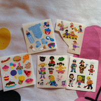 Lot of 5 Sandylion Stickers Little Boys Girls Playing Toddler Food Bunny Panda Cute Glimmer Shimmer Pizza Fries Donut Frog Adorable